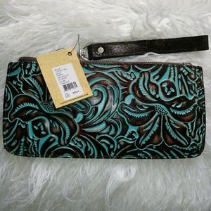 Patricia Nash Tooled Turquoise Wristlet/Clutch